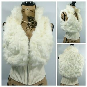NWT IVORY/CREAM Faux Fur Zippered Vest